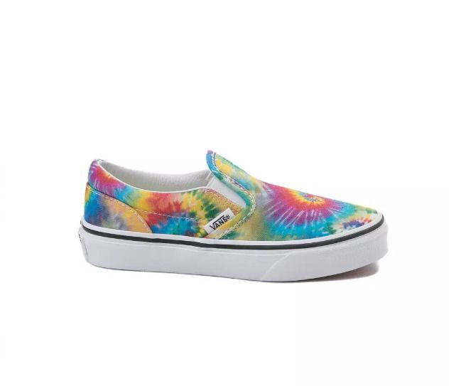 f3e843c8fa6667 Vans Kids Rainbow Tie Dye Blue Green Classic Slip On Canvas Skater Shoes  Size 5  VANS  SchoolShoes