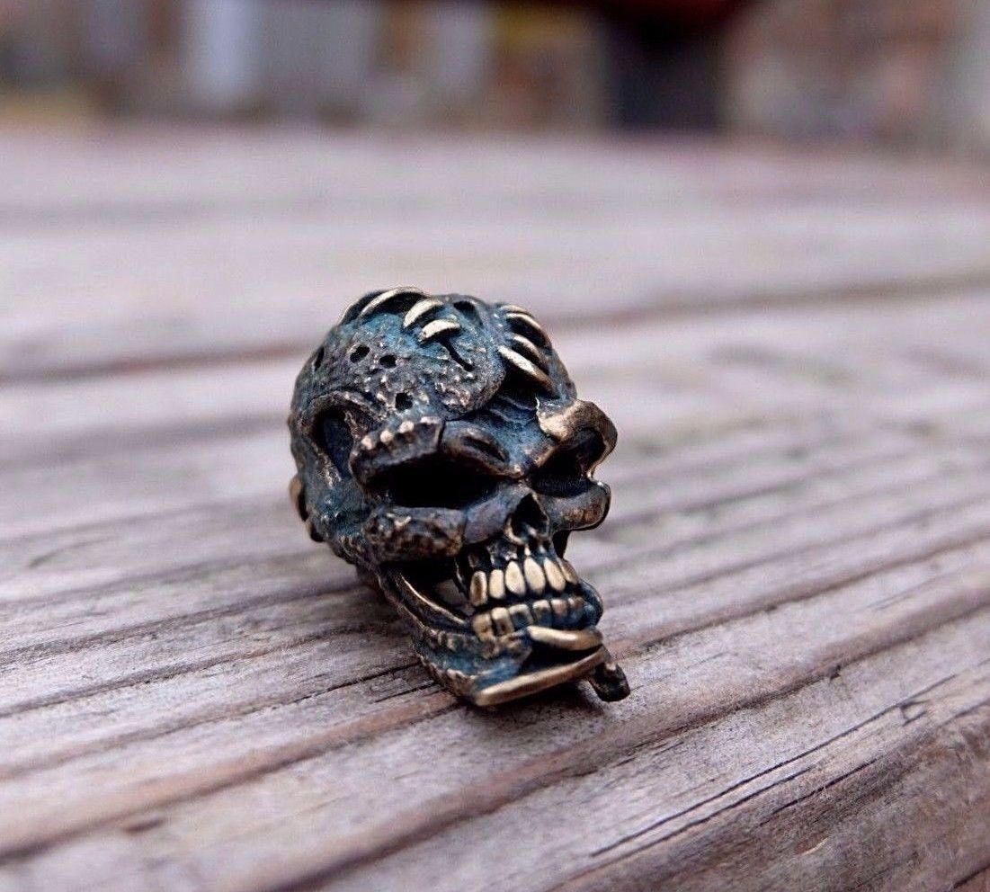 Skull Bead Old Skull Made Of Brass For Knives Or Keychain
