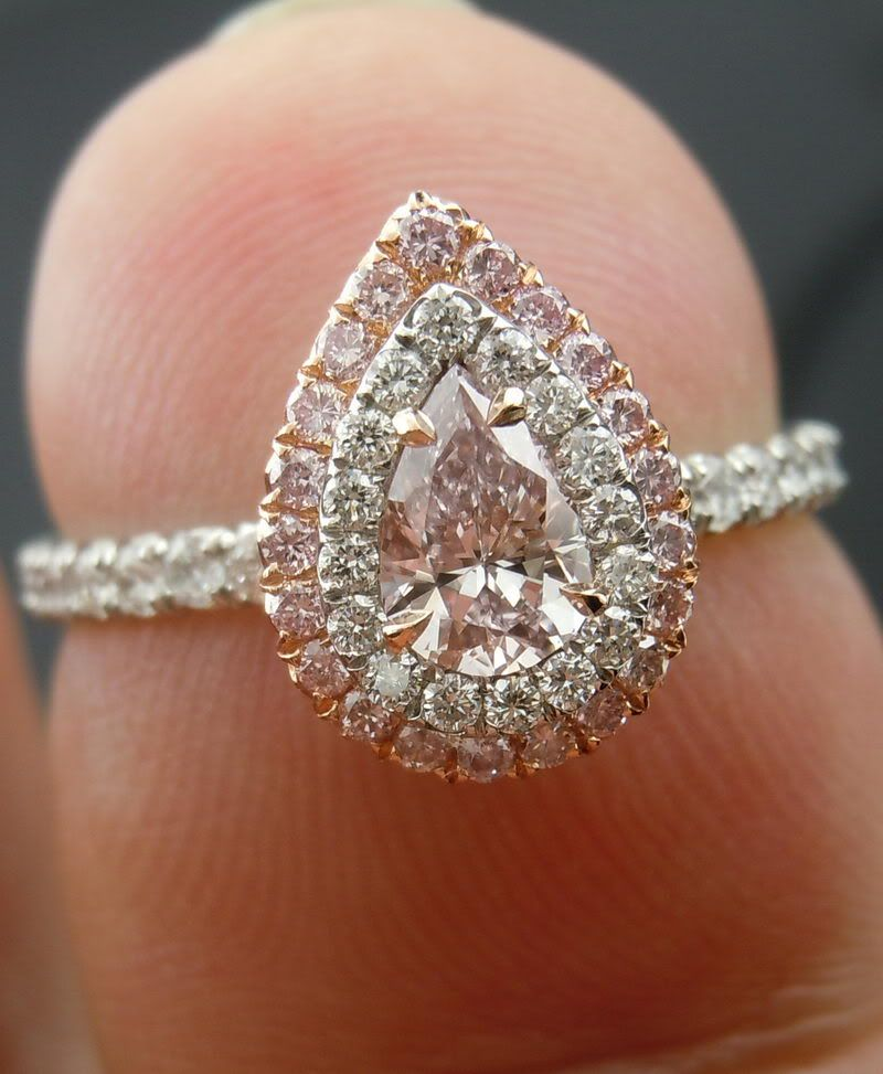 72722e33692e35 Light pink diamond pear shaped engagement ring with double halo.....did  someone say pink?? yes please