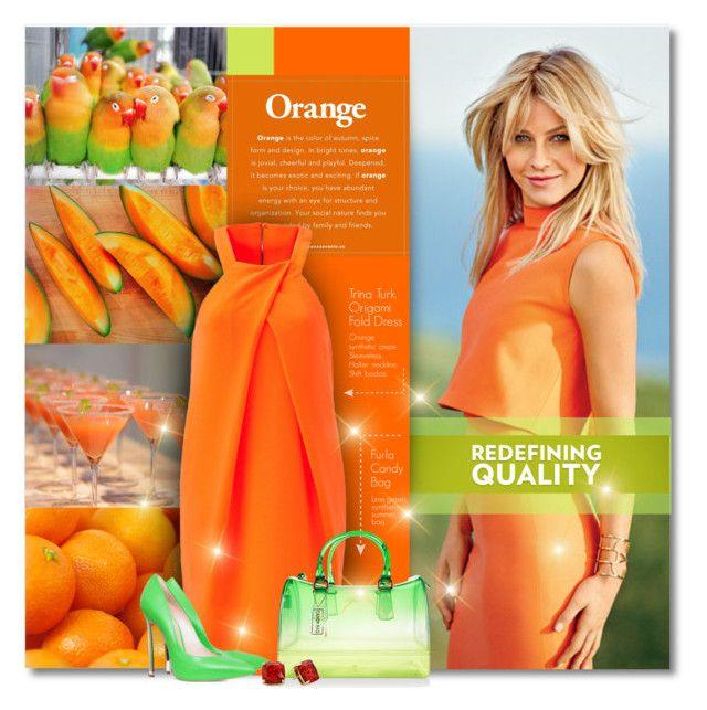 """Juicy Orange"" by petri5 ❤ liked on Polyvore featuring JULIANNE, Trina Turk, Furla and Kate Spade"