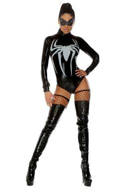 womens long sleeve spiderman halloween bodysuit costume black