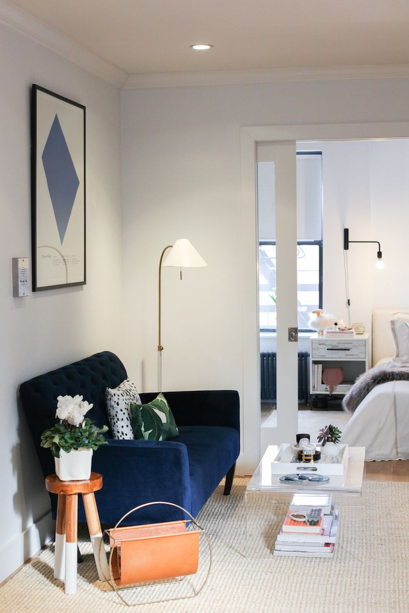 Tiny studio apartment tour blue settee