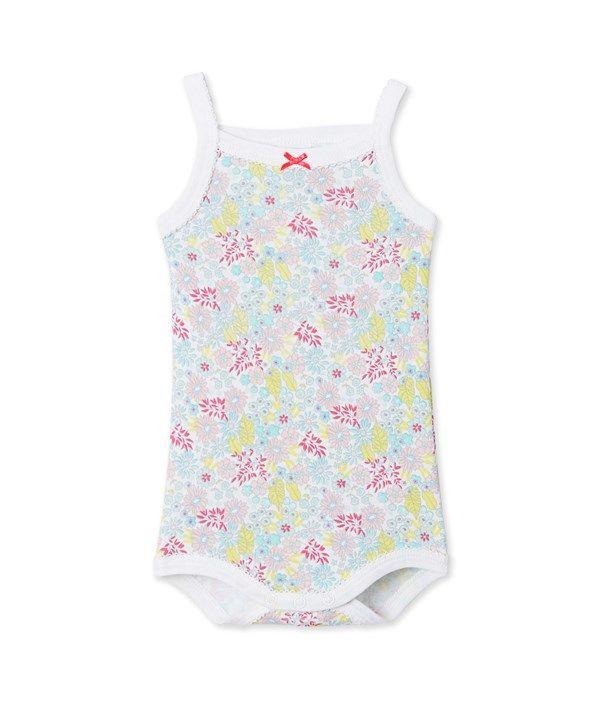 Body bébé fille à bretelles imprimé Petit Bateau blanc 24575263b44