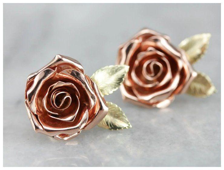 Vintage Rose Flower Stud Earrings Rose Stud Earrings Flower Earrings Studs Stud Earrings