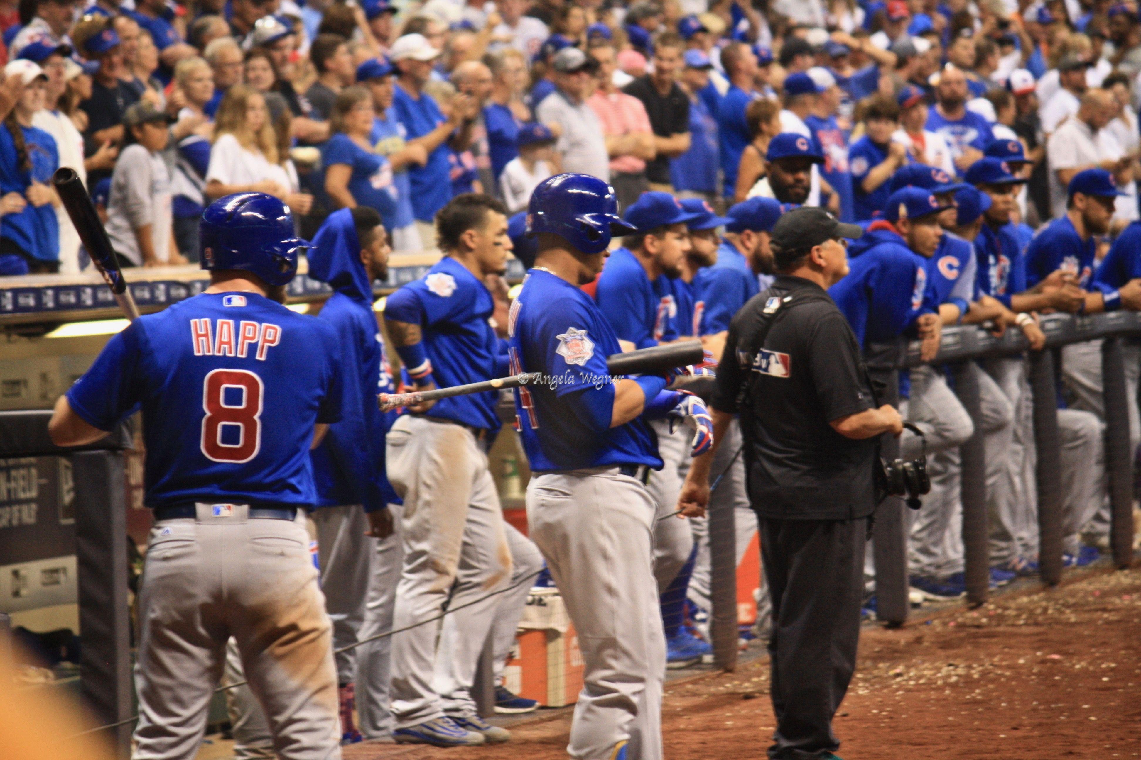 Ian Happ Javier Baez Chicago Cubs Win 5 3 Miller Park 9 21 17 Cubs Win Cubs Chicago Cubs