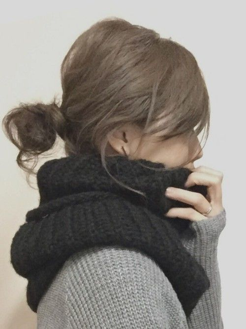 Sayaka Wegoのストール スヌードを使ったコーディネート ヘア