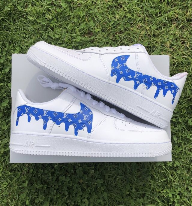 Blue lv drip in 2020 Nike shoes air force, Cute shoes