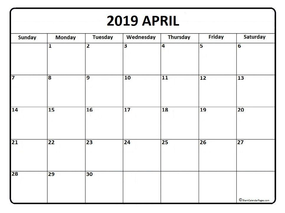 april 2019 calendar template  april  april2019
