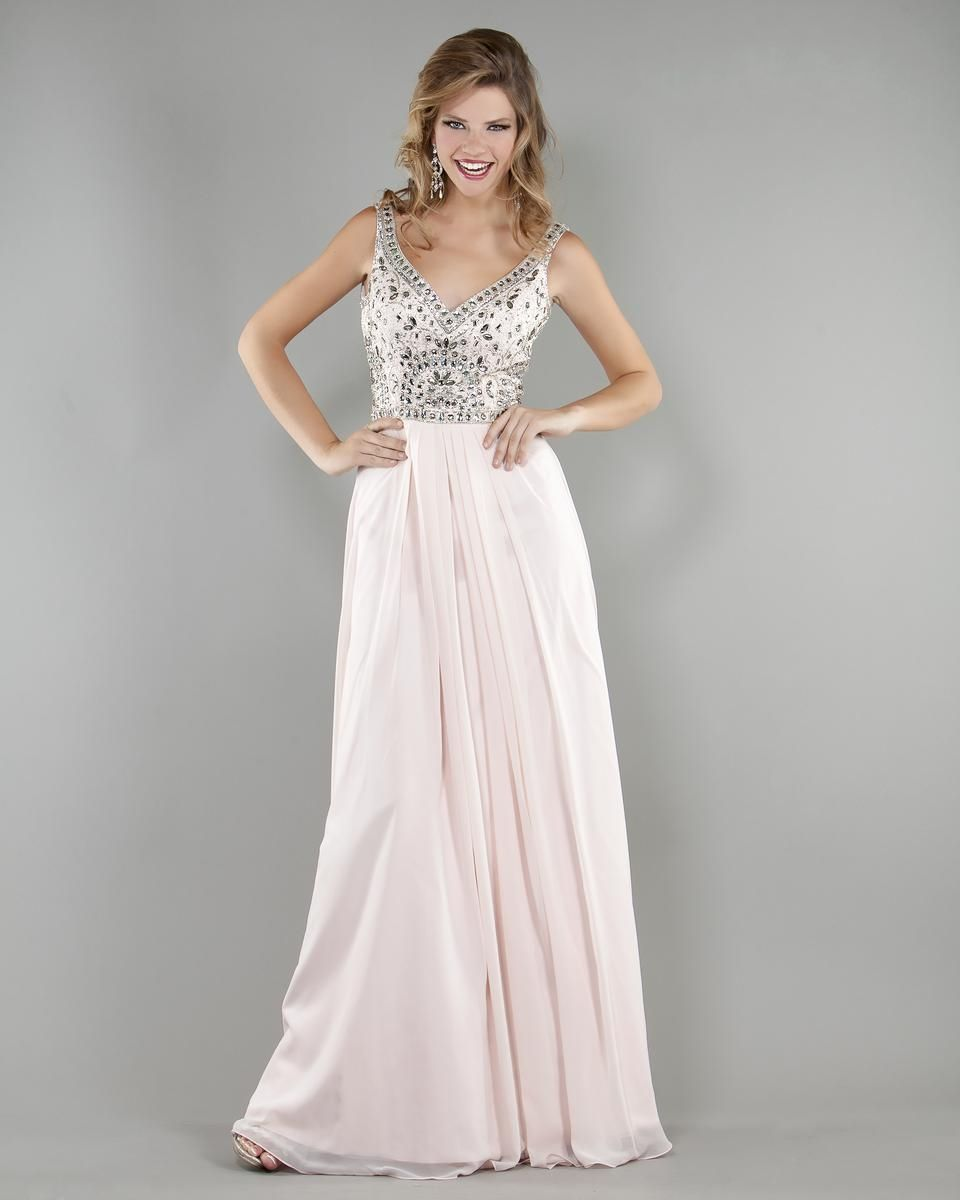 Low v neck beaded pink evening dress looks i love pinterest