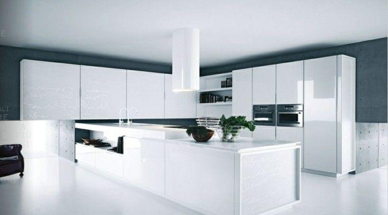 Cocinas blancas de diseño moderno - 50 ejemplos | Paredes grises ...