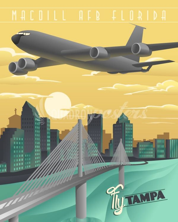 vintage travel poster of air force kc-135 flying over downtown Tampa Florida - there's more prints at www.squadronposters.com