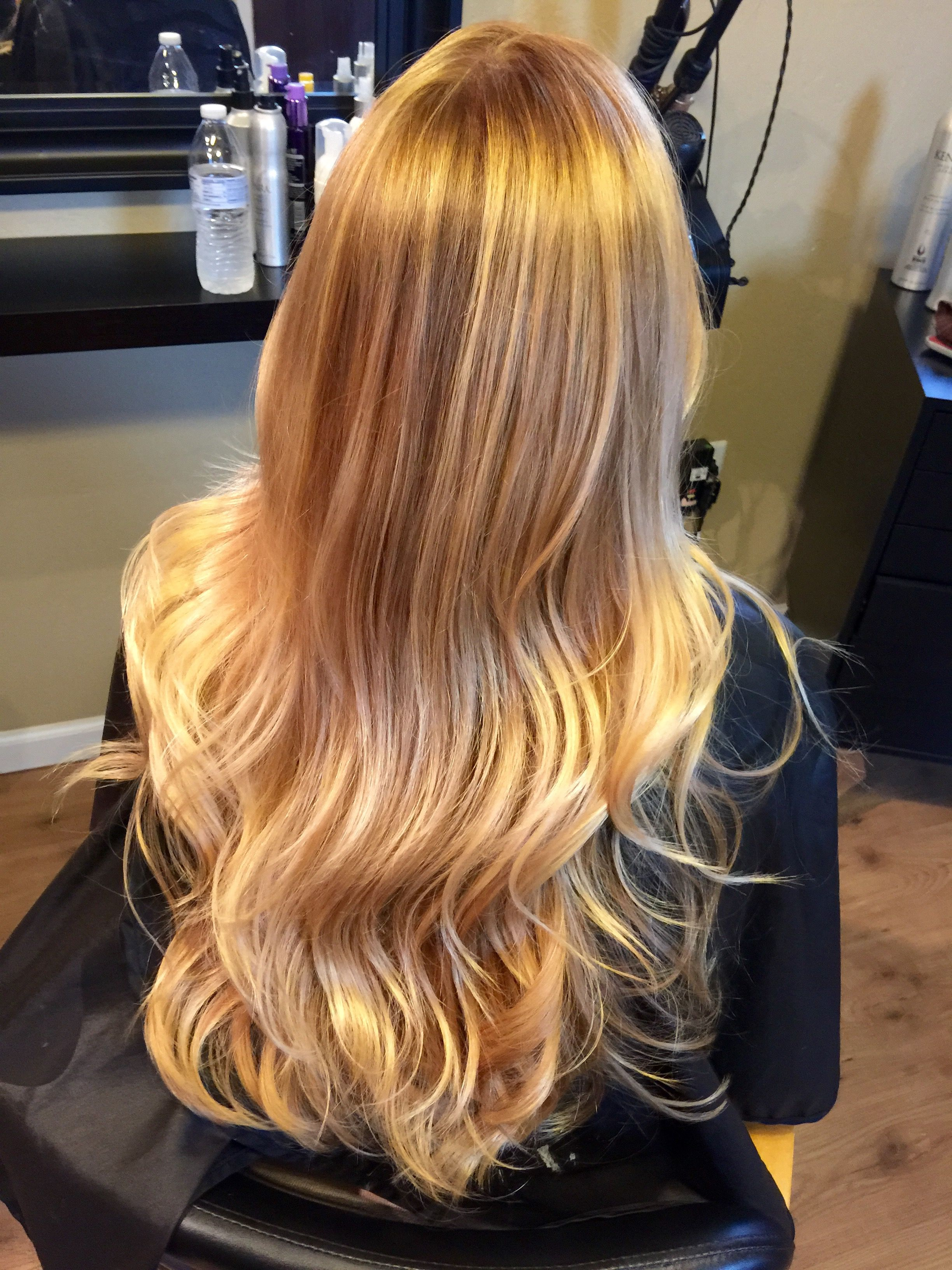 """38"""" Layered Golden Bleach Blonde Mix Full Lace Front Wig"""