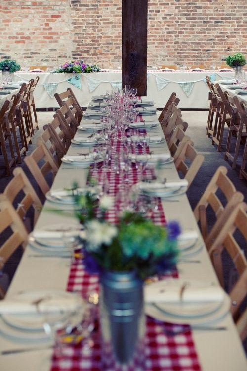 A Rustic, Picnic Feel Wedding on a Farm | Table settings, Gingham ...