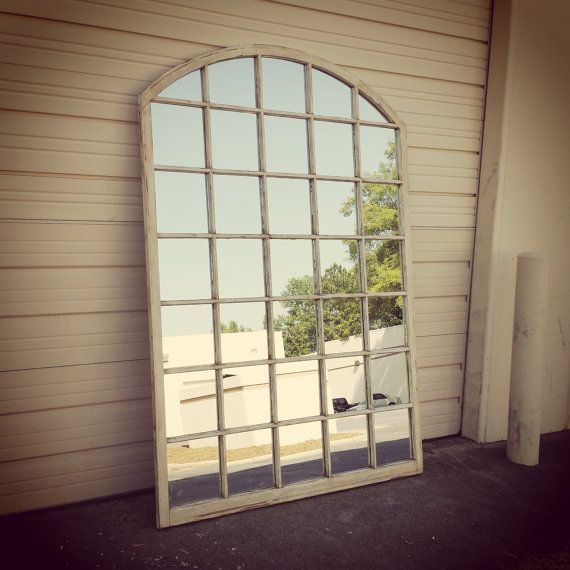 Arched White Window Mirror 84 X60 35 Panes 7495 The