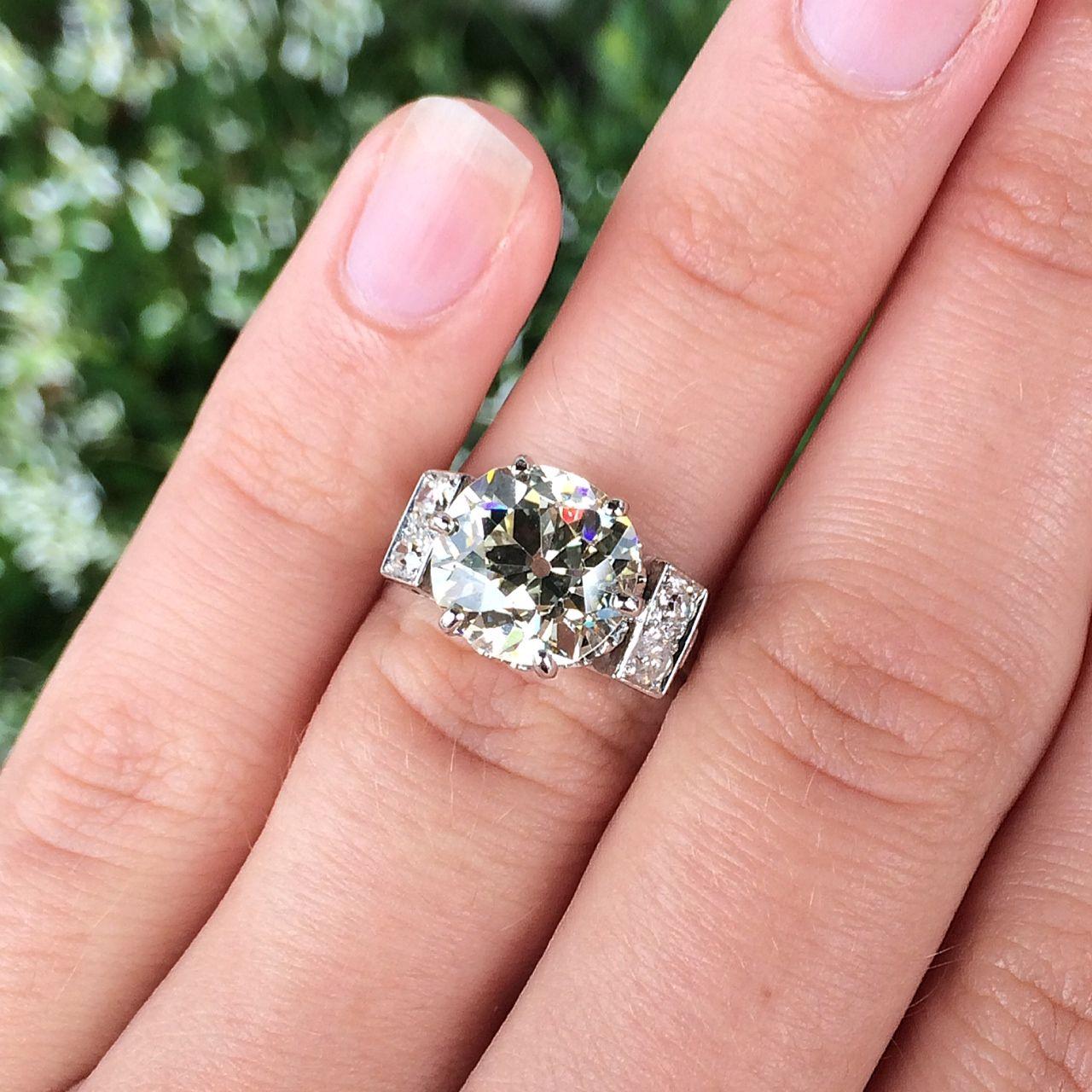 Stunning antique 4.15ct diamond & platinum ring, circa 1910.
