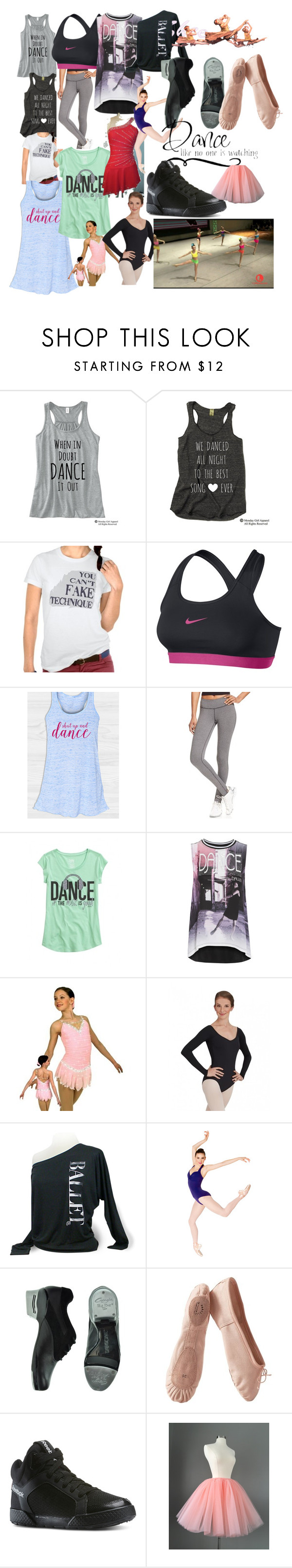 """Everything dance"" by sammyfashion4ever ❤ liked on Polyvore featuring NIKE, Ideology, Capezio, Porselli and Reebok"