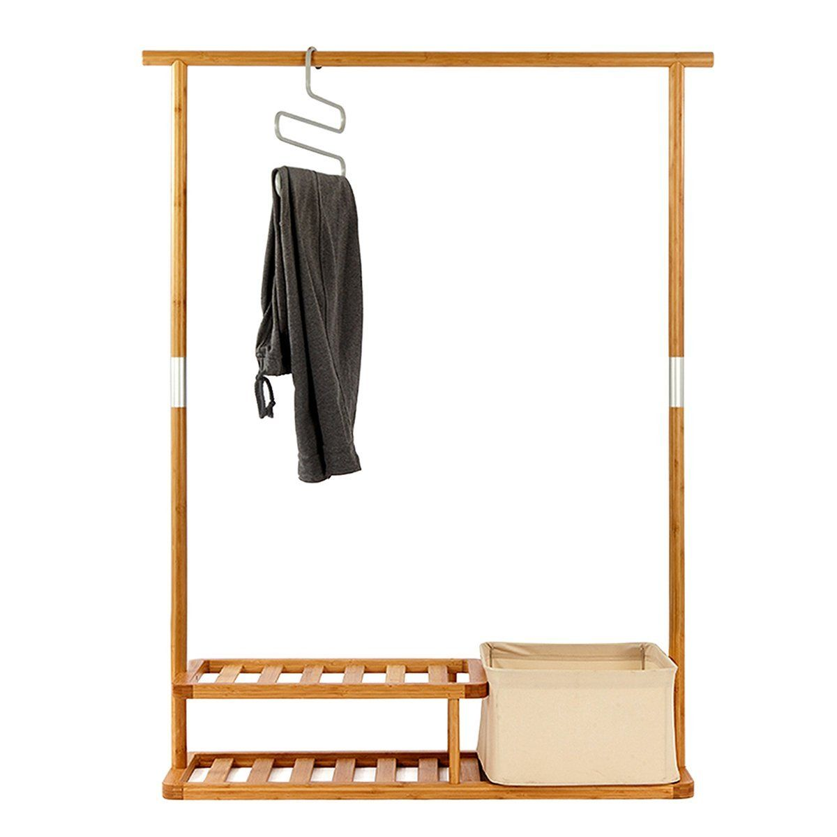 Multi Purpose Garment Rack Segarty Portable Clothes Hanging Easy Organization With Top Rod 2 Tier Shoe Shelves