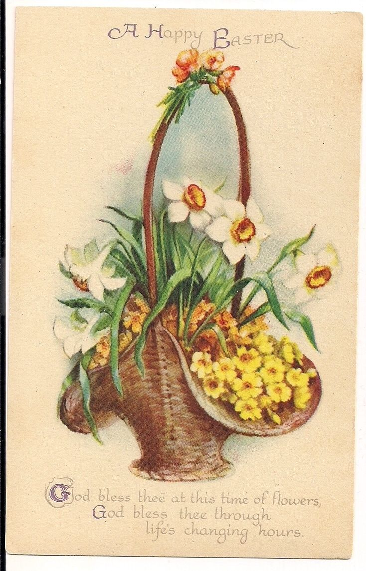 Ellen Clapsaddle Easter Basket with Flowers Lilly Postcard | eBay
