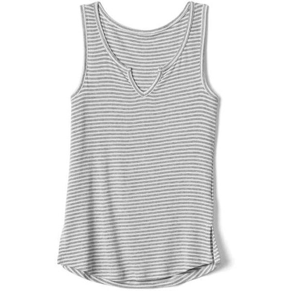 Gap Women Stripe Ribbed Notch Tank 21 Liked On Polyvore Featuring Tops Grey Stripe Tall Sleeveless Ta Tank Top Fashion Ribbed Knit Top Ribbed Tank Tops