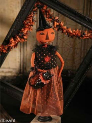 Bethany Lowe Party Pumpkin Doll w Black Cat Prim Primitive Kim Kohler New | eBay