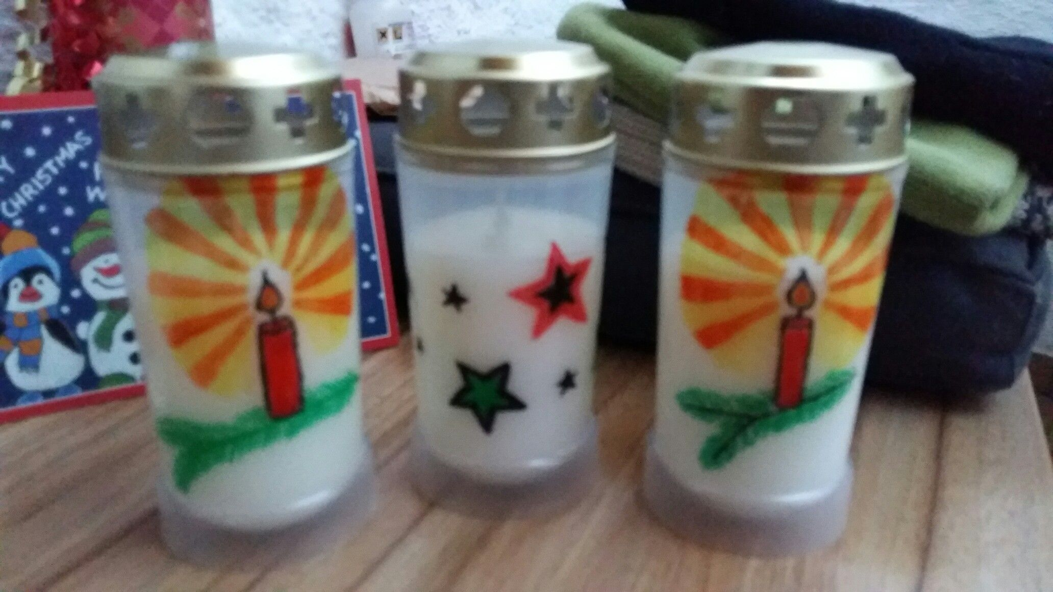 Grabkerze Painted Grave Candle Light Candle Christmas Edition