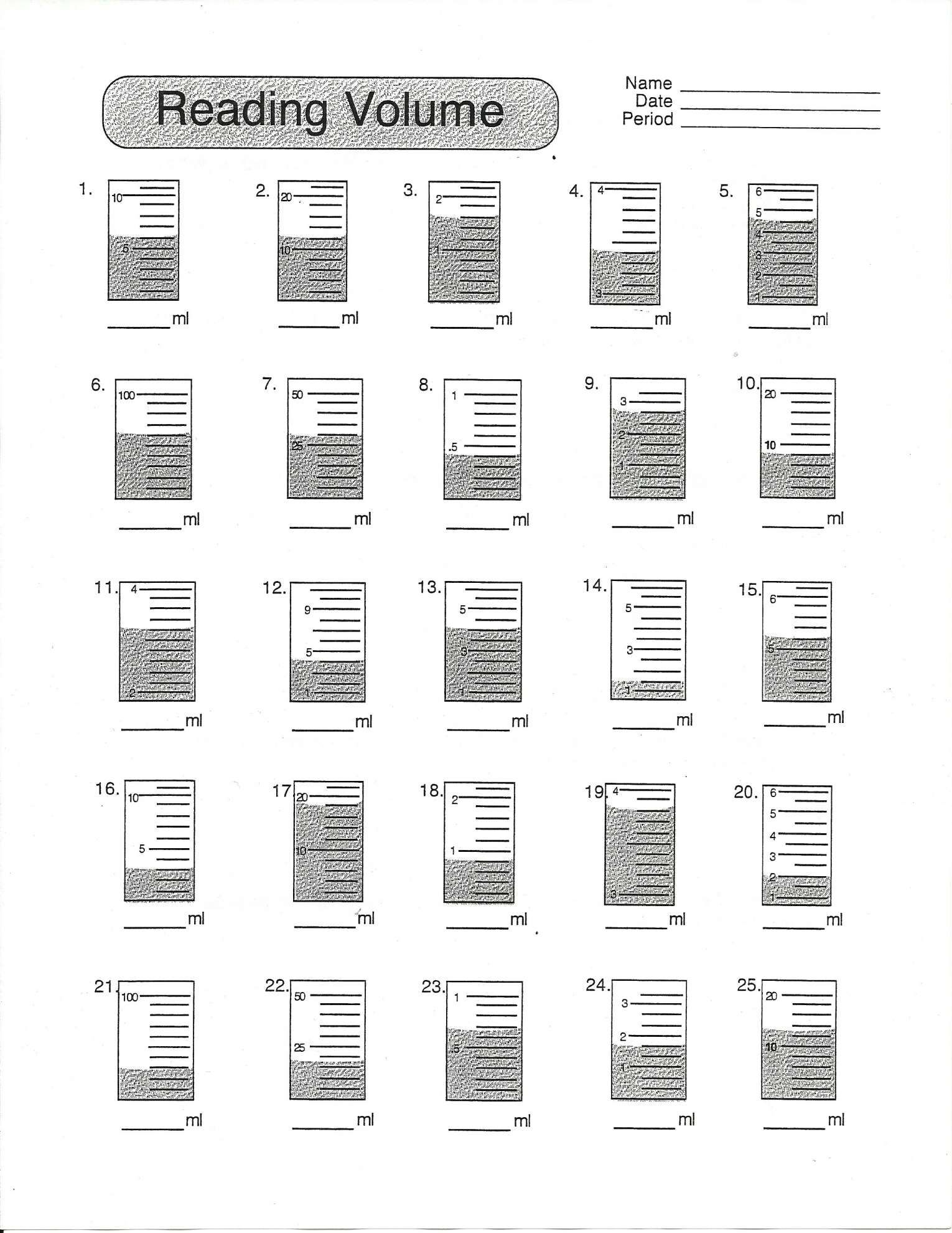 10 Reading Volume Worksheet