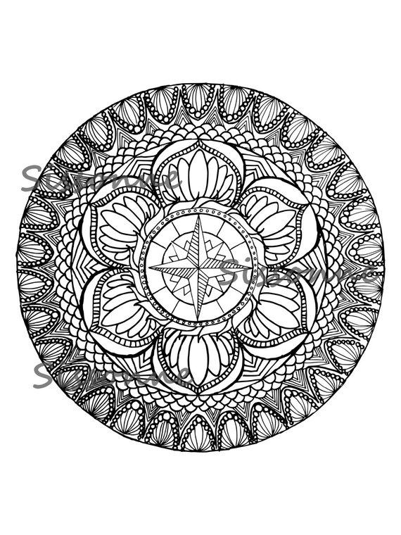 Zentangle Inspired Mandala Coloring Page - Instant PDF ...