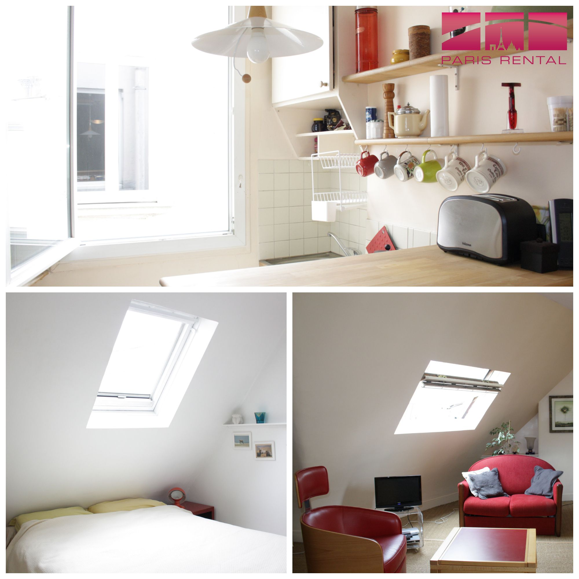 pops of #red in this #furnished 1-bedroom #paris #rental in the
