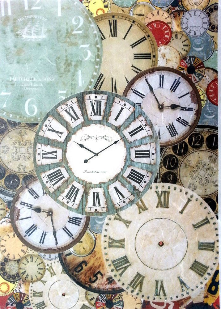 Scrapbooking Rice Paper for Decoupage Sheet Craft Vintage Clocks