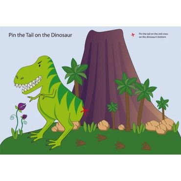 Dinosaur party games pin the tail on the dinosaur for Pin the tail on the dinosaur template