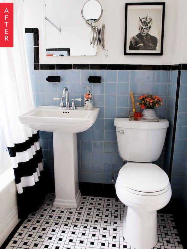 Beautiful Vintage Bathroom Renovations That Don T Destroy Original Tile Black And White Bathroom Floor Vintage Bathroom Tile Blue Bathroom Tile