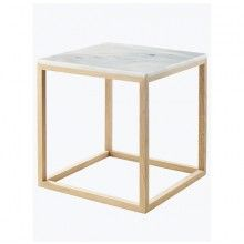 KRISTINA DAM STUDIO White Marble Cube Table with Oak Frame --- High Quality side table by Danish artist and Furniture designer Kristina Dam. Use the table as a coffee or bedside table. Or simply place the frame on top of the marble slab to create a sculpture, where you can display your favorite goods and see them in a new perspective.Dimension: Medium: 42 x 42 x 43,5 cm Small: 35,5 x 35,5 x 36,5 cmFrame: Oak Tree Top: Marble