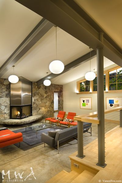 modern living room fireplace exposed steel beams concrete floor cable rail lahontan 380 in. Black Bedroom Furniture Sets. Home Design Ideas