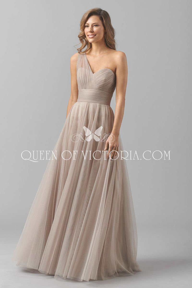Oneshoulder sweetheart layered sand tulle aline long bridesmaid