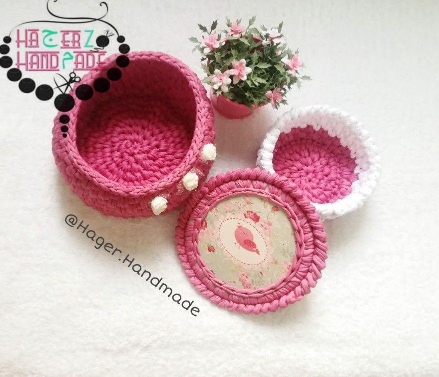 Crochet Basket From T Shirt Yarn Handmade Shop T Shirt Yarn Crochet Basket