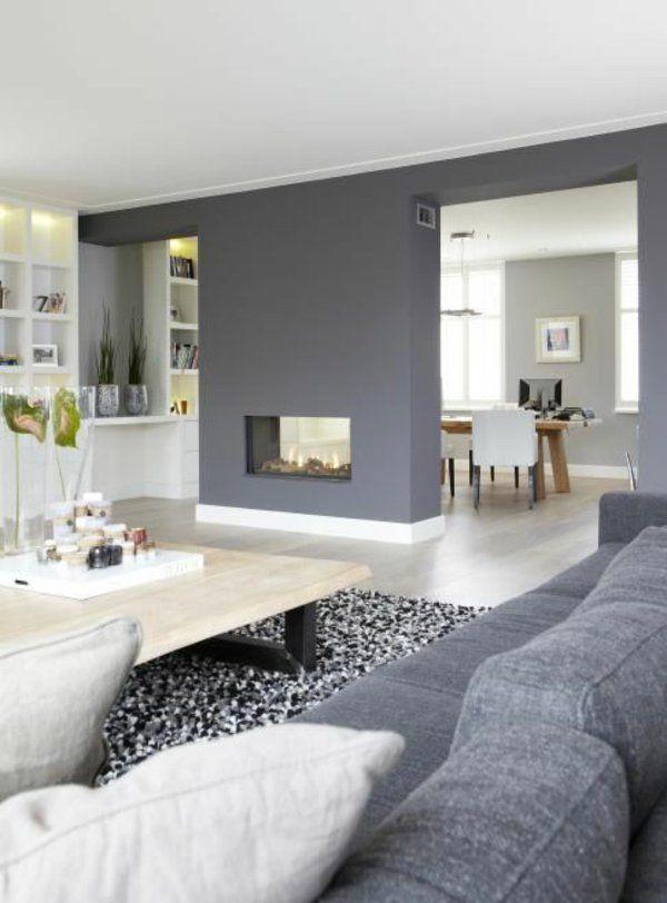 Wandgestaltung Grau Wohnzimmer Design Sofa Sessel Teppich Kamin