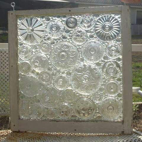 decorative window glass. Decorative window panel made from glass candy jar lids and marbles Glass old  Recycled Pinterest Window