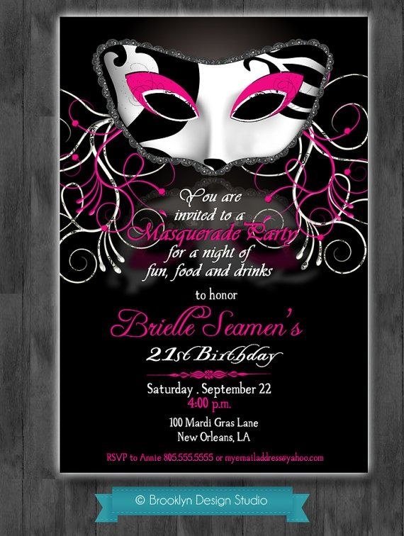 masquerade party invitations | Masquerade Party Custom ...