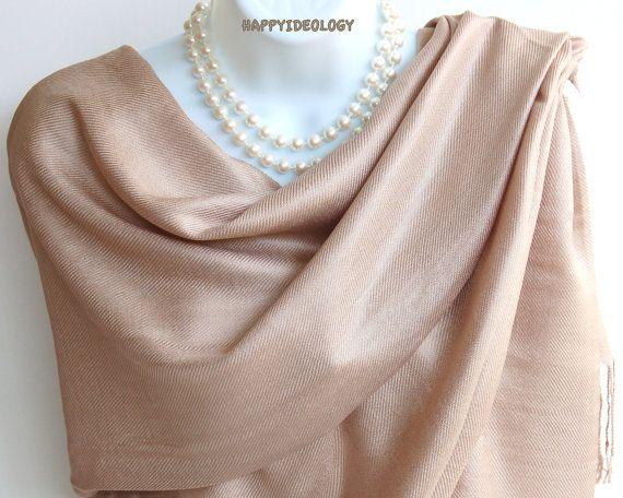 Taupe Beige Pashmina Scarf.Nude Beige Pashmina/Shawl.Winter Scarves.Elegant Silk…