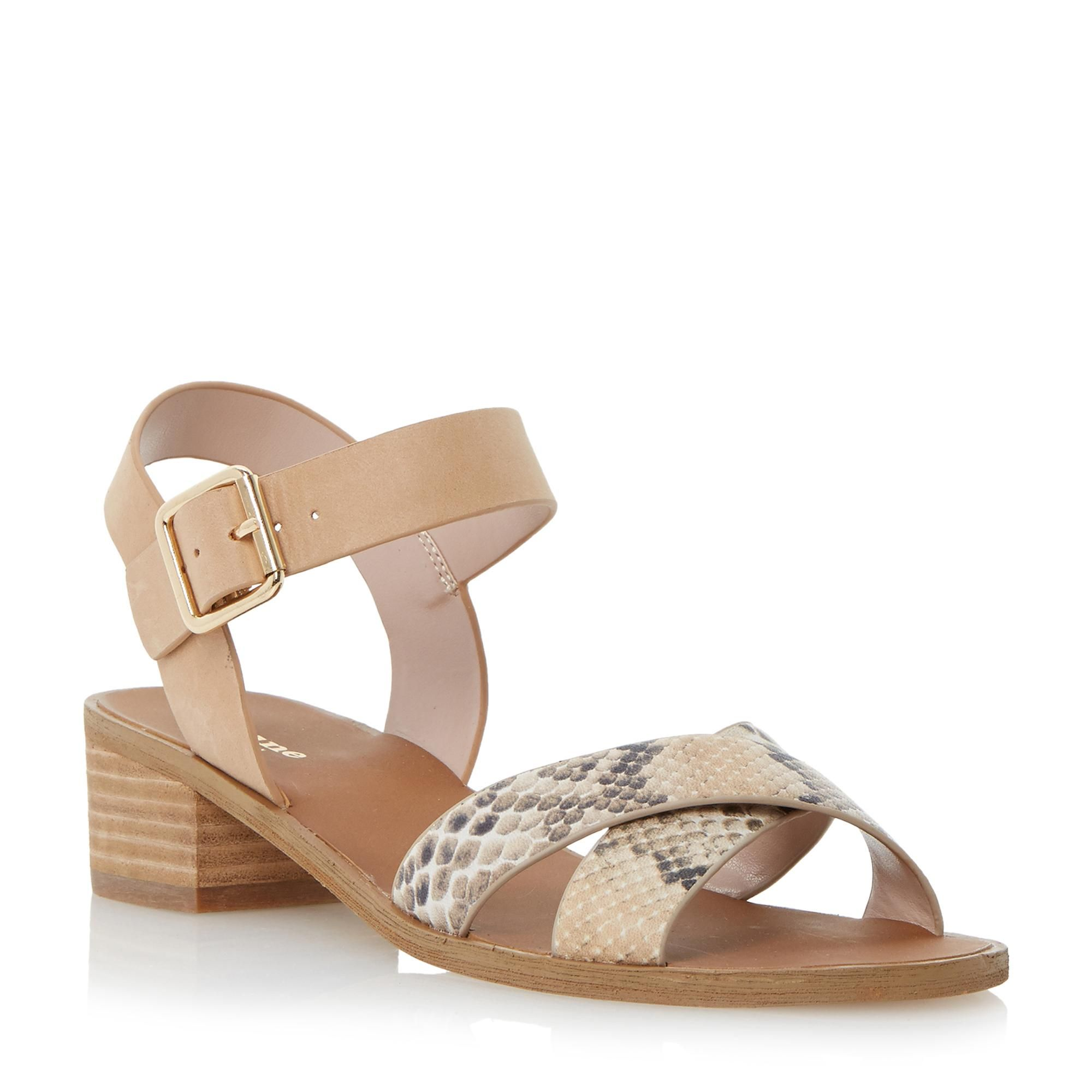 b78e0d8a551 DUNE LADIES JOTTA - Contrast Crossover Strap Low Block Heel Sandal - tan