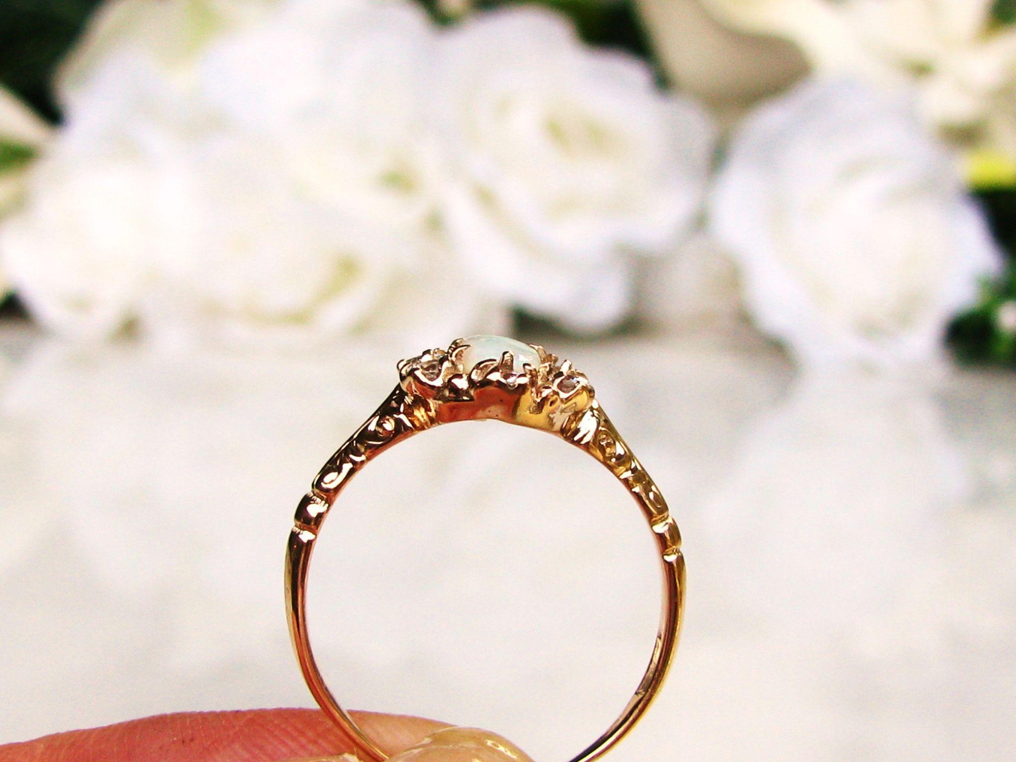 Vintage Opal & Diamond Ring Alternative Engagement Ring 14K Gold