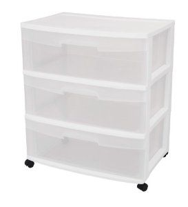 Housewarming gifts:Sterilite 29308001 3-Drawer Wide Cart with See-Through Drawers and Black Casters, White