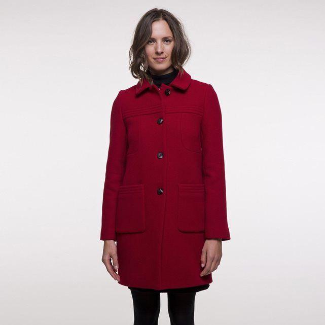 Manteau mi-long en laine vierge