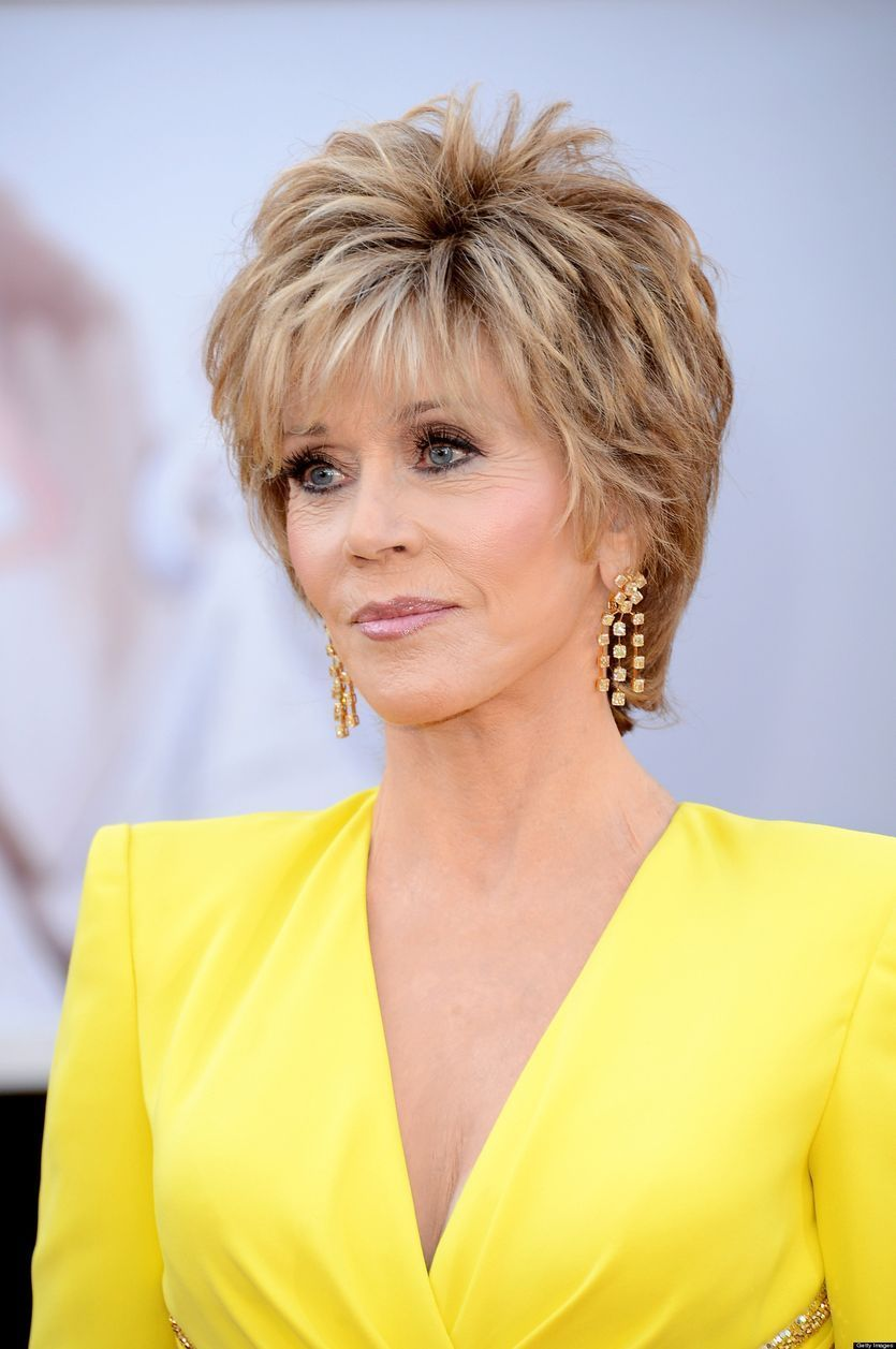 jane fonda - perfect crop hairstyle for mature woman over 50 | hair
