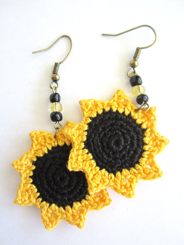 Sunflower Crocheted Earrings. $15.00, via Etsy ...