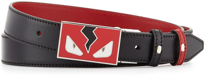 77879bf7f323 Fendi Monster Eyes Leather Belt