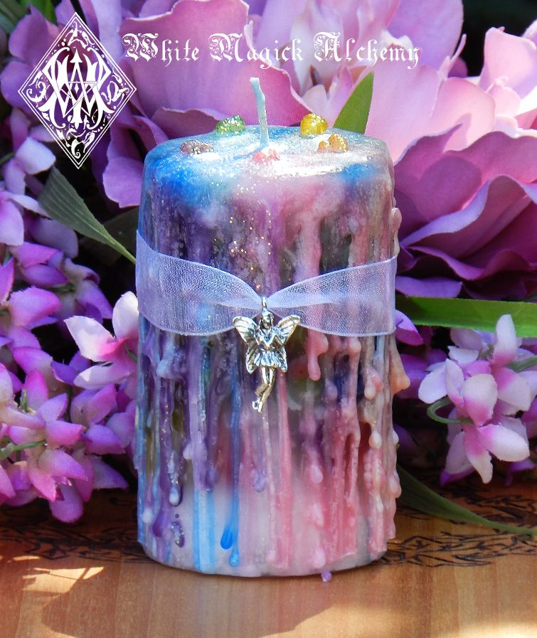 Faerie Muse . Herbal Alchemy Magick Candle 2x3 . Ambrosia . For Faerie Magick, Sight, Nature Spirit Workings - White Magick Alchemy