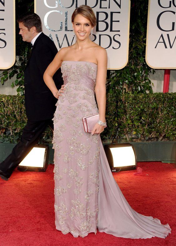 5cdad7c4481 JESSICA ALBA stunned in light lavender strapless gown with embellishment  detailing and long train by Gucci. She teamed her exquisite gown with  Giuseppe ...