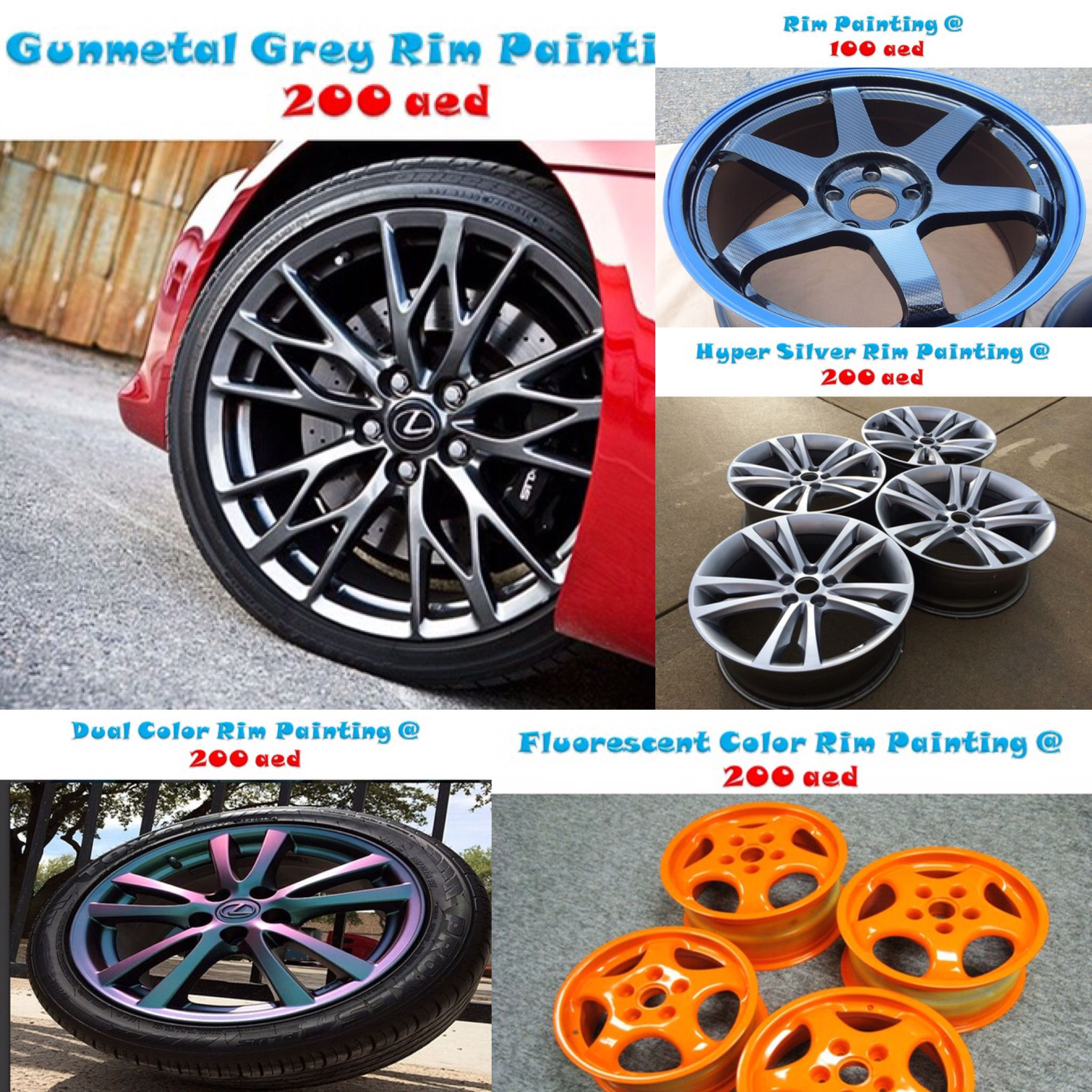 At Iskandar Garage We Offer You The Best Choices You Can Color Match With Your Car Rim Painting 1 0 0 Aed Hypersi Impala Car Wheel Car