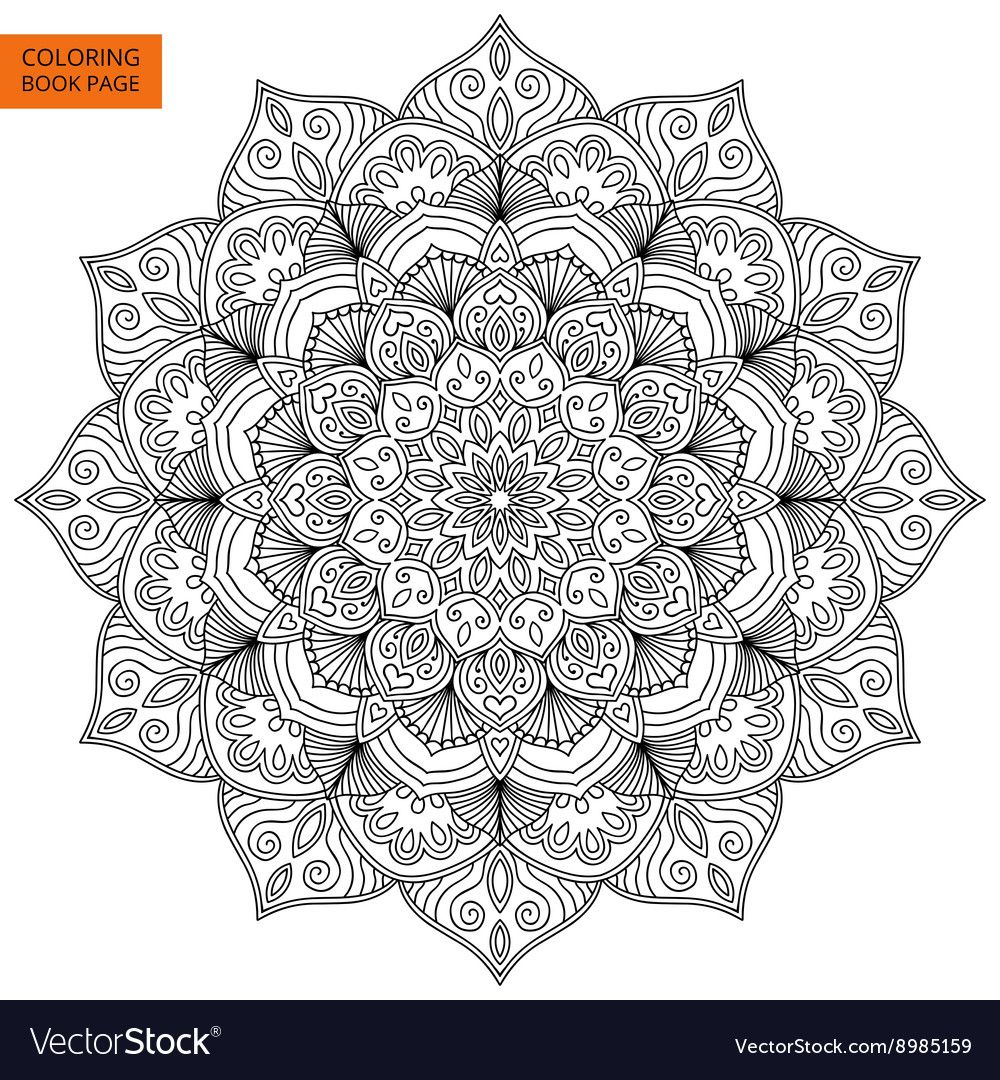 Coloring Book Page With Flower Mandala Vector Image On Vectorstock Mandala Coloring Pages Flower Mandala Mandala Vector